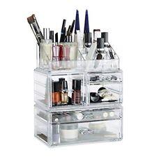 Relaxdays organizador de maquillaje con 21 compartimentos fibra Acrílica tra