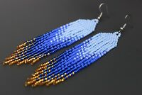 Fringe beaded earrings, handmade beaded earrings native style earrings