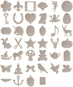 Mini Birch Plywood 1.6mm thick Laser Cut Craft Shapes Blanks Embellishments