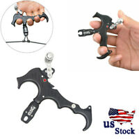 Archery 3 or 4 Finger Bow Release Aids Caliper Thumb Trigger Grip Compound Bow