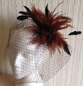 brown feather black veiling fascinator millinery hair clip ascot wedding bridal