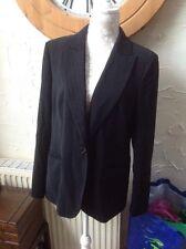 👀**PER UNA @M&S UK 16 (EU44) Black/red Pinstripe Floral Lined Jacket GC-