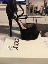 Black Faux Suede Heels Only worn Once In Box