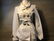 CHABI WOMENS LEATHER COAT BEIGE LONG SLEEVE LARGE BUTTONS SIZE SMALL SLIMMING