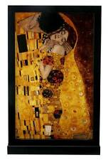 "Gustav Klimt ""THE KISS"" Stained Art Glass Window Panel Hanging Display w Stand"