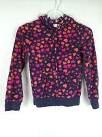 Est. 1989 Place Girl's sz M 7/8 Pink Blue Heart Long Sleeve Zip Up Hooded Jacket