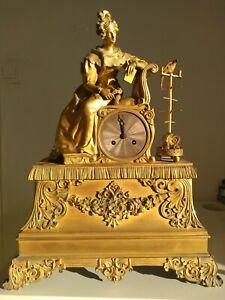 Pendule Horloge bronze doré époque Empire / Restauration XIXe