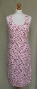Hobbs Marilyn Anselm cotton ditsy floral straight pencil dress white red size 14