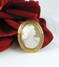 10k Gold  Framed Genuine Vintage Cameo Brooch Pin  FERAL CAT RESCUE