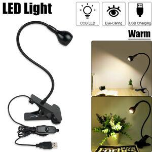 LED Flexible Reading Light USB Power Clip-on Beside Bed Desk Table Bright Lamp