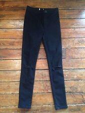Miss Selfridge Jeans Skinny Vita Alta Nero RIP Ginocchio SZ 10 W28 Fit L32 AZ74