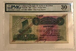 LEBANON P-26b 1939 1 Livre PMG 30 VF
