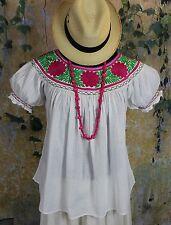 Magenta, Green & White Hand Embroidery Blouse Chiapas Mexico Cowgirl Hippie Boho