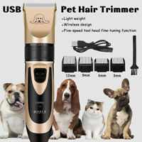 Pet Hair Clipper Grooming Electric Trimmer Shaver Comb Rechargeable Dog Cat Kit
