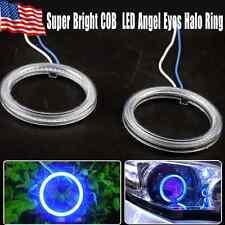 2x Ultra Blue70mm COB LED Super Bright CCFL Head Light Angel Eye Halo Ring Lamps