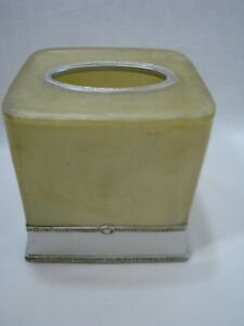 Wamsutta Tissue Box Cover Palace Pearl Silver Band Plastic Resin Square Cube