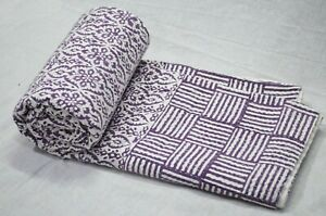 Block Print Indian Cotton Applique Bedspread Throw Blanket Kantha Quilt Blanket