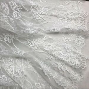 Floral Lace Tulle Mesh Fabric Embroidery Scalloped Bridal Dress Cloth 150 150CM