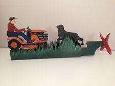Vintage Folk Art Whirligig Handmade Painted Man on Tractor & Dog Works!