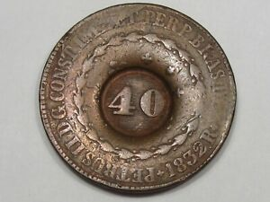 1832-R Coin w/ 40 Reis Counterstamp of Brazil (Rio Mint).  #14