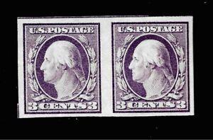 US 1917 SC# 483 3¢ WASHINGTON VIOLET  IMPERFORATE  Pair - Mint HR* - Vivid Color