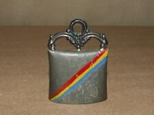 Vintage Hand Painted Red Yellow & Blue Striped Souvenir Mini Cow Bell Germany