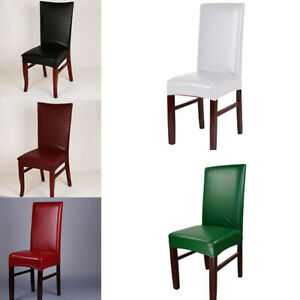 Stretch PU Leather Dining Room Chair Seat Cover Elastic Waterproof Slipcover