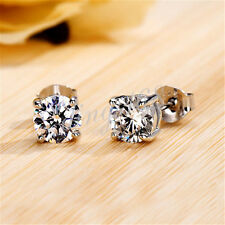 Zirconia Cz Stud Post Earrings H317 Solid 925 Sterling Silver 7mm Round Cubic
