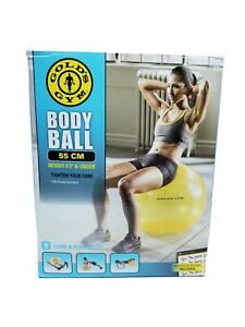GOLD'S GYM BODY BALL 55 CM ANTI-BURST YELLOW With Exercise Chart