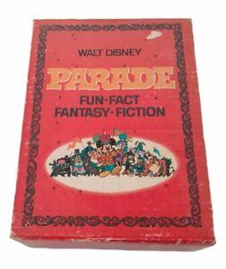 Walt Disney Parade Fun Fact Fantasy Fiction 4 Book Cased Vintage 1969 Slip Box