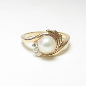 Estate 14K Yellow Gold 6.0 mm Saltwater Cultured Akoya Pearl And Diamond Ring