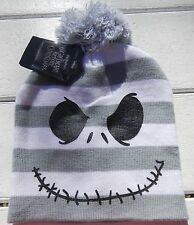NWT Disney Nightmare Before Christmas winter skull hat Adult gray & white stripe