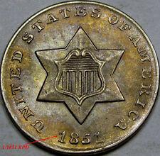 "1851 Silver Three Cent Piece Superb GEM BU... 1/1851 RPD ""RARE"" Very Nice TONING"