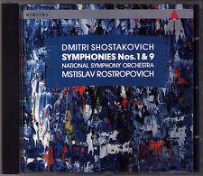 Mstislav ROSTROPOVICH: SHOSTAKOVICH Symphony No.1 & 9 Teldec CD Schostakowitsch