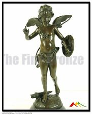 """SIGNED A.Moreau,  bronze statue winged cupid lw/ love-shield on arm. """"ALERTE"""""""