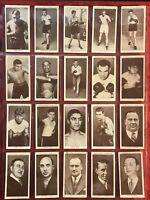 1938 CHURCHMAN BOXING PERSONALITIES 20 CARD SUBSET-ORIGINAL BOXING CARDS-VG-EX