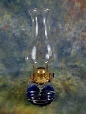 Vintage Glass Oil Lamp with Chimney & Lamplight Farms Brass Burner