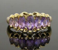 9ct Yellow Gold Graduated Marquise Amethyst Eternity Ring (Size P 1/2) 17x8mm