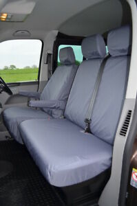Grey Tailored Waterproof Seat Covers Front 3 for VW Volkswagen T5 2003-2009