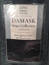 DAMASK WAMSUTTA King Stripe Collection Bedskirt 100% Egyptian Cotton
