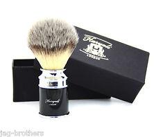 Synthetic Hair shaving Brush Black & Silver Drum Handle Classical box Presant