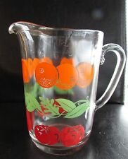 Vintage Glass Orange Tomato Juice Pitcher