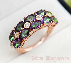 Mystic Topaz Natural Oval Gemstone 14K Solid Rose Gold Plating Women Women Ring