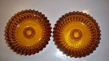 Pair Of Amber Glass Candle Stick Holders Diamond Point With Sawtooth Edges 5 1/4