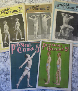 VTG LOT OF 5-PHYSICAL CULTURE MAGAZINES-1900-1901-MEN'S BODY BUILDING-FUN ADS