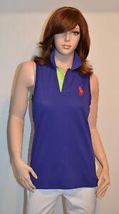 New $85 Polo Ralph Lauren Tailored Golf Fit S Big Pony Sleeveless Purple Green