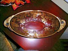 RARE Art Nouveau / Deco Glass Oval Ftd Bowl Gold Encrusted Florals c.1930