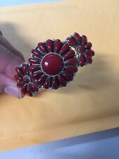 Native American Navajo Bracelet Red Coral Cluster Cuff Rosanna W Stunning Wow #4