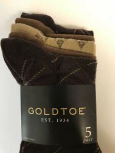 Men's Gold Toe Brown Dress Socks 5 Pack NEW Brown & Beige Crew MSRP $20.00