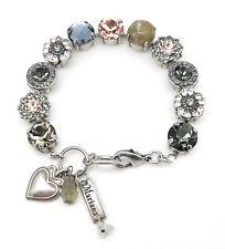 MARIANA Swarovski Silver Bracelet Montana Peach Silk Flower Mosaic M1035 Luxury
